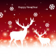 Abstract vector Christmas banner with reindeer — Stock Vector