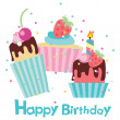 Stock Vector: Vector happy birthday card