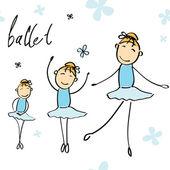 Vektorové ilustrace dívky tančí balet — Stock vektor