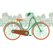 Vector illustration of a bicycle in the city — Stock Vector
