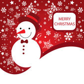 Merry Christmas vector banner with snowman — Stock Vector