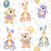 Vector seamless pattern with bears and rabbits for baby — Stock Vector