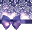 Vector Christmas background with purple bow — Stock Vector