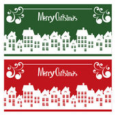 Vector Merry Christmas card with town — Stock Vector