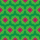 Abstract vector seamless pattern green leaves and pink flowers — Stock Vector