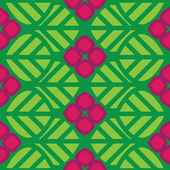 Abstract vector seamless pattern green leaves and pink flowers — Stockvector