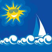 Vector illustration summer sun — Stock Vector