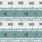 Vector seamless abstract pattern texture, blue waves and fish — Stock Vector