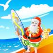 Santa claus on the beach — Stock Photo
