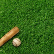 Baseball bat and ball on green turf background — Stock Photo
