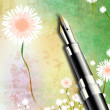 Fountain pen wuth floral background — 图库照片