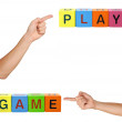 Toy Blocks with Sign Plat Game — Stock Photo