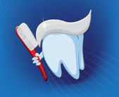 Dental Tooth with Toothbrush — Stock Photo