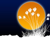 Illustration of a sun with flowers — Stock Photo