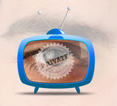 Retro tv with human's eye - private — Stock Photo