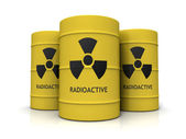Yellow metal barrels with nuclear waste — Stock Photo
