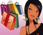 Illustration - Girl and Shopping — Stok fotoğraf