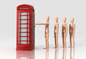 Standing in line for British telephone booth — 图库照片