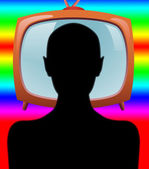 Man watching TV abstraction — Stock Photo
