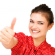 Happy woman showing thumbs up — Stock Photo #35100103