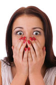 Close-up portrait of the scared woman, isolated on white. — Stock Photo