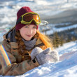 Stock Photo: Portrait of young snowboarder girl