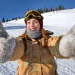Stock Photo: Girl snowboarder