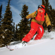 Stock Photo: Snowboarder doing toe side carve.