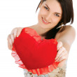 Love and valentines day woman holding heart — Stock Photo