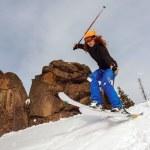 Jumping skier — Stock Photo