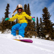 Stock Photo: Snowboarder doing toe side carve