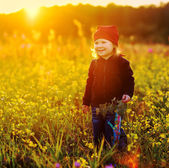 Laughing small girl with field flowers — Stock Photo