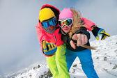 Snowboarders felizes — Fotografia Stock