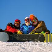 Mutlu snowboard takımı — Stok fotoğraf