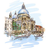 Venice background boat — Stock Vector