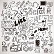 Vector set of hand drawn social doodles — Stock Vector