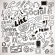 Vector set of hand drawn social doodles — Imagen vectorial