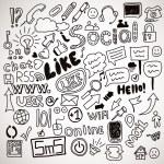 Vector set of hand drawn social doodles — Stock Vector