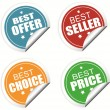 Best offer, best seller , best choice and best price colorful labels — Stock Vector