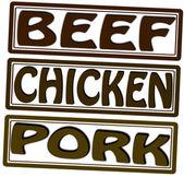 Hovězí maso kuřecí a vepřové — Stock vektor