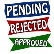 Stock Vector: Pending rejected and approved