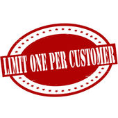 Limit one per customer — Stock Vector