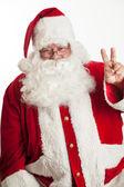 Santa clause peace sign — Stock Photo