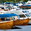 Boats and yachts in marina - Stock Photo