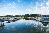 Boats and yachts in marina — Stock Photo