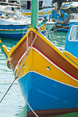 Luzzu, traditional eyed boats in Malta — Foto de Stock