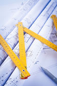Architectural drawings and construction tools — Stock Photo