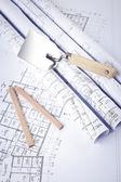 Disegni architettonici e strumenti di costruzione — Foto Stock
