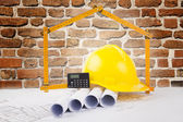 Building construction concept with bricks background — Stock Photo