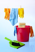 Cleaning items and detergents isolated on white — Stock Photo
